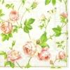 แนวภาพดอกไม้ กิ่งดอกกุหลาบ ภาพกระจายบนพื้นขาวครีม เป็นภาพกระจายเต็มแผ่น กระดาษแนพกิ้นสำหรับทำงาน เดคูพาจ Decoupage Paper Napkins ขนาด 33X33cm