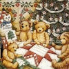 กระดาษสาพิมพ์ลาย rice paper สำหรับทำงาน hand made เดคูพาจ Decoupage แนวภาพ หมี Teddy ล้อมวงเย็บผ้านวมผืนใหญ่ใต้ต้นคริสมาสต์ (ปลาดาว ดีไซน์)