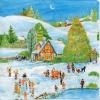 แนวภาพเทศกาลฤดูหนาว หิมะ กระดาษแนพคินสำหรับทำงาน เดคูพาจ Decoupage Paper Napkins เป็นภาพ 4 บล๊อค ขนาด 25X25 ซม