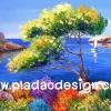 กระดาษสาพิมพ์ลาย สำหรับทำงาน เดคูพาจ Decoupage แนวภาำพ ภาพวาดสไตล์ยุโรปสีสันสดสวยน่ารักมากๆ แล่นเรือใบในทะเลคลื่นสงบใกล้เนินเขาเตี้ยๆ (ปลาดาวดีไซน์)