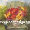 กระดาษสาพิมพ์ลาย สำหรับทำงาน เดคูพาจ Decoupage แนวภาำพ บ้านและสวน ดอกเยียบีร่าสีสด ในแจกันตั้งอยู่บนเก้าอี้ไม้ เป็นภาพแนวภาพวาดสีฟุ้งๆ (ปลาดาวดีไซน์)