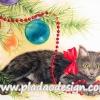 กระดาษสาพิมพ์ลาย สำหรับทำงาน เดคูพาจ Decoupage แนวภาำพ ลูกแมวน้อย ตัวดำ หัวเทา นอนเ่ล่นสร้อยลูกปัดประดับต้นคริสต์มาส