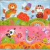 แนวภาพลายการ์ตูน ลายเส้นลงสีแมว วัว นก นกยูง บนพื้นสีสรรสดใส เป็นภาพ 4 บล๊อค กระดาษแนพกิ้นสำหรับทำงาน เดคูพาจ Decoupage Paper Napkins ขนาด 33X33cm