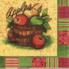 แนวภาพอาหาร ลายเส้นลงสีผลไม้ผลแอปเปิ้ล ในกรอบสลับสี เป็นภาพ 2 บล๊อก กระดาษแนพกิ้นสำหรับทำงาน เดคูพาจ Decoupage Paper Napkins ขนาด 33X33cm กระดาษรุ่นพิเศษ