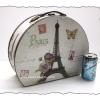 กล่องเก็บของ ทรงกระเป๋าเดินทางโค้ง แบบวินเทจ ลาย หอไอเฟิลสุดหวาน ขนาดกลาง M