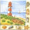 แนวภาพทะเล ชายหาดมีประภาคาร กับเรือ เป็นภาพแนวยาว กระดาษแนพคินสำหรับทำงาน เดคูพาจ Decoupage Paper Napkins เป็นภาพ 4 บล๊อค ขนาด 25X25 ซม