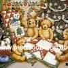 กระดาษเดคูพาจพิมพ์ลาย สำหรับทำงาน เดคูพาจ Decoupage งานฝีมือ งาน Handmade แนวภาพ หมี Teddy ล้อมวงเย็บผ้านวมผืนใหญ่ใต้ต้นคริสมาสต์ (ปลาดาว ดีไซน์)