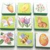 จิ๊กซอแมกเนต 9 ชิ้น ลายกระต่าย แครอท ผึ้ง ดอกไม้ ขอบสีเขียว