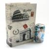 กล่องเก็บของทรงหนังสือแนววินเทจ ขนาดกลาง M ลาย Postcard Rome Paris Pisa