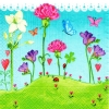 แนวภาพดอกไม้ ทุ่งดอกไม้หลากสีบนพื้นหญ้าเขียว ภาพโทนสีฟ้าเขียว เป็นภาพ 4 บล๊อค กระดาษแนพกิ้นสำหรับทำงาน เดคูพาจ Decoupage Paper Napkins ขนาด 33X33cm