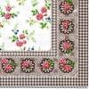 แนวภาพลายแต่ง ดอกไม้ดอกเล้กภาพกระจายพื้นขาว ในกรอบสีน้ำตาล เป็นกระดาษเต็มแผ่น กระดาษแนพคินสำหรับทำงาน เดคูพาจ Decoupage Paper Napkins เป็นภาพ 4 บล๊อค ขนาด 25X25 ซม
