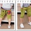 กางเกงสามส่วนเด็ก สีเขียว ตกแต่งกระเป๋าหลัง เก๋ๆเทห์ๆ สไตล์ เกาหลี