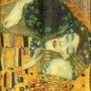 แนวภาพศิลปะ ภาพวาดระดับโลก DER KUSS บนพื้นสีทอง ภาพลายกระจายเต็มแผ่น กระดาษแนพคินสำหรับทำงาน เดคูพาจ Decoupage Paper Napkins ขนาด 21X22cm