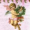 แนวภาพความรัก กามเทพถือช่อดอกไม้ ภาพโทนสีชมพู เป็นภาพ 4 บล๊อค กระดาษแนพกิ้นสำหรับทำงาน เดคูพาจ Decoupage Paper Napkins ขนาด 33X33cm