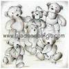 กระดาษสาพิมพ์ลาย rice paper เป็น กระดาษสา สำหรับทำงาน เดคูพาจ Decoupage แนวภาพ เด็กอนุบาลน้องหมี เท็ดดี้ แบร์ Teddy bear 6 ตัว เป็นภาพวาดลายเส้นดินสอ pladao design