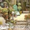 กระดาษอาร์ทพิมพ์ลาย สำหรับทำงาน เดคูพาจ Decoupage แนวภาพ บ้านและสวน เก้าอี้ในสวนหน้าบ้าน ภาพแนวนอน by Pladao Design Handmade