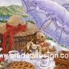 กระดาษเดคูพาจพิมพ์ลาย สำหรับทำงาน เดคูพาจ Decoupage งานฝีมือ งาน Handmade แนวภาพ หมี เท็ดดี้แบร์ Teddy bear กับกระต่าย ใต้ร่มสีม่วง (ปลาดาว ดีไซน์)