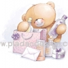 กระดาษสาพิมพ์ลาย สำหรับทำงาน เดคูพาจ Decoupage แนวภาำพ ภาพวาด ภาพแนวการ์ตูน น้องหมี ฮอลล์มาร์ค Hallmarks bear น้องหมีไปช๊อปปิ้ง shopping ซื้อเครื่องสำอางจำพวก แชมพู โลชั่น (ปลาดาวดีไซน์)