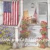 กระดาษสาพิมพ์ลาย สำหรับทำงาน เดคูพาจ Decoupage Paper Rice แนวภาพ แมวน้อยนอนเฝ้าบ้านชาวอเมริกัน มีธงชาติอเมริกาอยู่หน้าบ้าน ปลูกต้นดอกคริสต์มาสประดับไว้ที่ขั้นบันไดสีขาว Pladao design