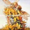กระดาษสาพิมพ์ลาย สำหรับทำงาน เดคูพาจ Decoupage แนวภาำพ ภาพวาด Fairy Story นางฟ้า กับเทวดาคู่รัก จุมพิต กันอยู่ในพุ่มดอกไม้สีเหลือง (ปลาดาวดีไซน์)