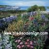 กระดาษเดคูพาจพิมพ์ลาย สำหรับทำงาน เดคูพาจ Decoupage งานฝีมือ งาน Handmade แนวภาพ บ้านและสวน วิวสวยๆของสวนดอกไม้ด้านหน้าบ้าน ใกล้ทะเลสาบอันกว้างใหญ่ (ปลาดาว ดีไซน์)