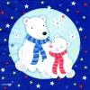 แนวภาพสัตว์ หมีขาวขั้วโลกพ่อลูก ภาพโทนสีน้ำเงิน เป็นภาพ 4 บล๊อค กระดาษแนพกิ้นสำหรับทำงาน เดคูพาจ Decoupage Paper Napkins ขนาด 33X33cm
