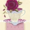 กระดาษสาพิมพ์ลาย สำหรับทำงาน เดคูพาจ Decoupage แนวภาำพ ภาพแนวการ์ตูน แก้วกาแฟลายจุด Polka dot มีดอกกุหลาบดอกโตสีแดงเข้ม วางอยู่ปากแก้ว (ปลาดาวดีไซน์)