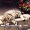 กระดาษสาพิมพ์ลาย สำหรับทำงาน เดคูพาจ Decoupage แนวภาพ แมวลายสวยนอนอาบแดด ตะแคงหน้ามอง