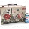 กล่องเก็บของ ทรงกระเป๋าเดินทาง แบบวินเทจ ลาย ปารีเซียนสุดหวาน ขนาดเล็ก S