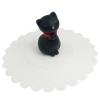 ฝาปิดแก้วซิลิโคน กดปุบดูดปับ สินค้าจากญี่ปุ่น น่ารักมาก ลายแมวดำ ฐานขาว