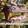 กระดาษสาพิมพ์ลาย สำหรับทำงาน เดคูพาจ Decoupage แนวภาำพ กระรอก2ตัว ปรึกษาหารือ หาทางแกล้งเจ้าแมวขนนุ่มที่มาหลับในบ้านไม้