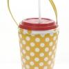 แก้วเก็บความเย็น สะดวกสบายด้วยหูหิ้ว ลาย Polka Dot เหลือง เก็บความเย็นได้กว่า 5 ชั่วโมง