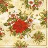 แนวภาพดอกไม้ ช่อดอกไม้สีแดง บนพื้นครีม เป็นกระดาษลายเต็มแผ่น กระดาษแนพคินสำหรับทำงาน เดคูพาจ Decoupage Paper Napkins เป็นภาพ 4 บล๊อค ขนาด 25X25 ซม