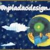 กระดาษสาพิมพ์ลาย สำหรับทำงาน เดคูพาจ Decoupage แนวภาพ หมี Teddy หมีในชุดนอนบนเตียงพระจันทร์ กับคฑาดาว บนท้องฟ้าสีน้ำเงิน