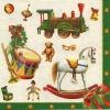 แนวภาพเทศกาล ของแต่งคริสมาสต์ ชิ้นเล็กๆ กลอง ม้าไม้ ของขวัญ ใตขอบเขียว กระดาษแนพกิ้นสำหรับทำงาน เดคูพาจ Decoupage Paper Napkins ขนาด 33X33cm