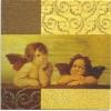 แนวภาพความรัก กามเทพตัวน้อยในกรอบลายแต่ง ภาพโทนสีน้ำตาล เป็นภาพ 4 บล๊อค กระดาษแนพกิ้นสำหรับทำงาน เดคูพาจ Decoupage Paper Napkins ขนาด 33X33cm