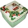 กล่องเก็บของ กล่องของขวัญ ผักตบชวาทรงจตุรัส แบบฝาครอบ ลายนกน้อยกับพวงสตอเบอร์รี่