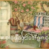 กระดาษสาพิมพ์ลาย สำหรับทำงาน เดคูพาจ Decoupage แนวภาำพ บ้านและสวน เก้าอี้เหล็กสีขาวมีหมอนอิงสีสวยหวาน วางตั้งอยู่หน้าบ้านไว้ชมสวนสวย (ปลาดาวดีไซน์)