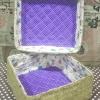"""ชิ้นงานดิบ กระจูด ทำ Decoupage งานเพนท์ กล่องเก็บของมีฝาปิด ด้านในบุผ้าวินเทจสุดสวยโทนสีม่วง 8""""x 8""""x 4"""""""