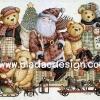 กระดาษเดคูพาจพิมพ์ลาย สำหรับทำงาน เดคูพาจ Decoupage งานฝีมือ งาน Handmade แนวภาพ มวลหมู่หมี เท็ดดี้ แบร์ Teddy bear นั่งชิลชิลกับลุงแซนต้า pladao design