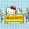 กระดาษสาพิมพ์ลาย สำหรับทำงาน เดคูพาจ Decoupage แนวภาำพ hello kitty กับน้องกระต่าย ยืนหลังป้ายชื่อไม้ Hello Kitty สีเหลือง มีดอกไม้อยู่ข้างๆ พื้นหลังสก๊อตสีฟ้า (ปลาดาวดีไซน์)