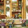 กระดาษอาร์ทพิมพ์ลาย art paper สำหรับทำงาน Handmade เดคูพาจ Decoupage แนวภาพ ห้องจัดดอกไม้ อยู่ใจกลางสวนดอกไม้ฤดูหนาวเป็นภาพแบบซอฟต์ๆ (pladao design)
