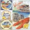 แนวภาพทะเล กุ้ง Lobster กับภาพป้ายอาหารต่างๆ เป็นกระดาษ 4 บล๊อค กระดาษแนพคินสำหรับทำงาน เดคูพาจ Decoupage Paper Napkins เป็นภาพ 4 บล๊อค ขนาด 25X25 ซม