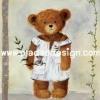 กระดาษสาพิมพ์ลาย rice paper เป็นกระดาษสา สำหรับทำงาน เดคูพาจ Decoupage แนวภาพ น้องหมี เท็ดดี้ แบร์ teddy bear เด็กผู้หญิงมาในชุดนอนเปิดไหล่ พกพาน้องตุ๊กตาหมีน้อยมาด้วย ปลาดาวดีไซน์