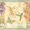 กระดาษสาพิมพ์ลาย สำหรับทำงาน เดคูพาจ Decoupage แนวภาำพ ภาพวาดสีหวาน นก 2ตัว ผีเสื้อ 1 ตัว บินแยกย้ายกันไปหาน้ำหวานในเกสรดอกไม้กิน ภาพในกรอบแบบหลุยส์ (ปลาดาวดีไซน์)
