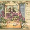 กระดาษอาร์ตพิมพ์ลาย สำหรับทำงาน เดคูพาจ Decoupage แนวภาำพ friendship นกน้อยคู่รัก บินเล่นอยู่บนกระถางดอกมอร์นิ่งกลอรี่สีม่วง ที่อยู่ริมหน้าต่าง (ปลาดาวดีไซน์)