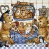กระดาษสาพิมพ์ลาย สำหรับทำงาน เดคูพาจ Decoupage งานฝีมือ งาน Handmade แนวภาพ หมี เท็ดดี้ Teddy bear กับตะกร้าแมว