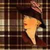 แนวภาพการ์ตุน สาวทันสมัยใส่หมวก บนพื้นสก๊อตสีน้ำตาล ภาพแนวสีน้ำตาล เป็นภาพ 2 บล๊อค กระดาษแนพกิ้นสำหรับทำงาน เดคูพาจ Decoupage Paper Napkins ขนาด 33X33cm