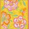 แนวภาพดอกไม้ลายปักผ้า บนพื้นสีเหลือง กระดาษแนพคินสำหรับทำงาน เดคูพาจ Decoupage Paper Napkins เป็นภาพกระจายเต็มแผ่น ขนาด 25X25 ซม
