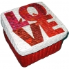 กล่องเก็บของ กล่องของขวัญ ผักตบชวาทรงจตุรัส แบบฝาครอบ ลายหัวใจกับคำว่ารัก